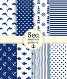Άνευ ραφής σχέδια θάλασσας. Διανυσματική συλλογή. Στοκ εικόνα με δικαίωμα ελεύθερης χρήσης