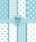 Άνευ ραφής σχέδια θάλασσας Διανυσματική συλλογή Στοκ εικόνα με δικαίωμα ελεύθερης χρήσης
