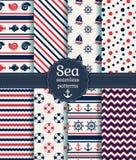 Άνευ ραφής σχέδια θάλασσας Διανυσματική συλλογή Στοκ Φωτογραφίες