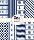 Άνευ ραφής σχέδια θάλασσας. Διανυσματική συλλογή. Στοκ Φωτογραφίες