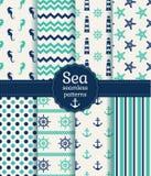 Άνευ ραφής σχέδια θάλασσας Διανυσματική συλλογή Στοκ Εικόνες