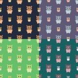 Άνευ ραφής σχέδια κουκουβαγιών καθορισμένα Στοκ Φωτογραφίες