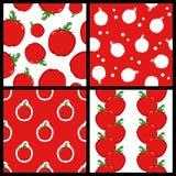 Άνευ ραφής σχέδια κόκκινων πιπεριών καθορισμένα Στοκ εικόνα με δικαίωμα ελεύθερης χρήσης