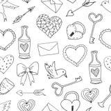 Άνευ ραφής σχέδια με τα στοιχεία αγάπης και γάμου διανυσματική απεικόνιση