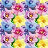 Άνευ ραφής σχέδια με τα όμορφα λουλούδια Στοκ Φωτογραφία