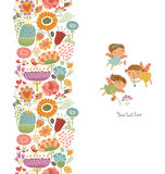 Άνευ ραφής σχέδια με τη χαριτωμένη νεράιδα με τα λουλούδια Στοκ φωτογραφία με δικαίωμα ελεύθερης χρήσης