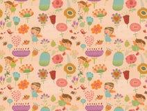 Άνευ ραφής σχέδια με τη χαριτωμένη νεράιδα με τα λουλούδια Στοκ εικόνα με δικαίωμα ελεύθερης χρήσης