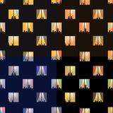 Άνευ ραφής σχέδια πόλης παραθύρων νύχτας καθορισμένα Στοκ Φωτογραφίες