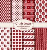 Άνευ ραφής σχέδια Χριστουγέννων και χειμώνα πολικό καθορισμένο διάνυσμα καρδιών κινούμενων σχεδίων Στοκ Εικόνα