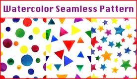 Άνευ ραφής σχέδια Watercolor που τίθενται με τα ζωηρόχρωμα τρίγωνα, κύκλος Στοκ εικόνα με δικαίωμα ελεύθερης χρήσης