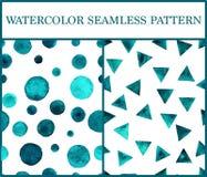 Άνευ ραφής σχέδια Watercolor που τίθενται με τα σμαραγδένια τρίγωνα και circ Στοκ Φωτογραφίες