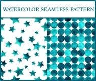 Άνευ ραφής σχέδια Watercolor που τίθενται με τους σμαραγδένιους κύκλους και τα αστέρια Στοκ εικόνα με δικαίωμα ελεύθερης χρήσης