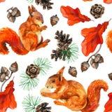 Άνευ ραφής σχέδιο άγριας φύσης Watercolor δασικό Στοκ εικόνα με δικαίωμα ελεύθερης χρήσης