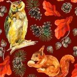 Άνευ ραφής σχέδιο άγριας φύσης Watercolor δασικό απεικόνιση αποθεμάτων