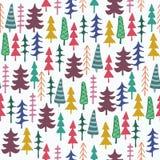 Άνευ ραφής σχέδιο δέντρων του FIR ζωηρόχρωμο Στοκ φωτογραφίες με δικαίωμα ελεύθερης χρήσης
