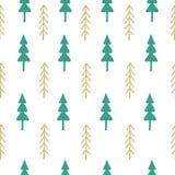 Άνευ ραφής σχέδιο δέντρων του FIR ζωηρόχρωμο Στοκ Εικόνα