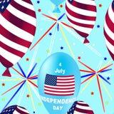 Άνευ ραφής σχέδιο αμερικανικής ημέρας της ανεξαρτησίας Πετώντας λαστιχένια μπαλόνια Στοκ φωτογραφία με δικαίωμα ελεύθερης χρήσης