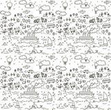 Άνευ ραφής σχέδιο αντικειμένων ταξιδιού doodles Στοκ Εικόνες