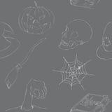 Άνευ ραφής σχέδιο αποκριών doodles Στοκ Εικόνες