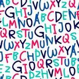 Άνευ ραφής σχέδιο από συρμένο το χέρι αλφάβητο Στοκ φωτογραφία με δικαίωμα ελεύθερης χρήσης