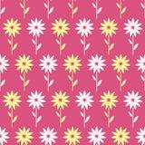 Άνευ ραφής σχέδιο απλών και λουλουδιών ομορφιάς Διανυσματικό αγαθό απεικόνισης για την τυλίγοντας τυπωμένη ύλη κλωστοϋφαντουργικώ Στοκ Εικόνες