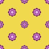Άνευ ραφής σχέδιο, ασυνήθιστα λουλούδια σε ένα κίτρινο υπόβαθρο Στοκ Εικόνες