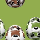 Άνευ ραφής σχέδιο αυγών Πάσχας με τη διακόσμηση σκυλιών Στοκ Φωτογραφίες