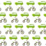 Άνευ ραφής σχέδιο αυτοκινήτων και ποδηλάτων Στοκ Φωτογραφία