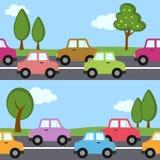 Άνευ ραφής σχέδιο αυτοκινήτων κυκλοφορίας Στοκ Φωτογραφία