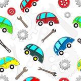Άνευ ραφής σχέδιο αυτοκινήτων παιδιών με τα εργαλεία διανυσματική απεικόνιση