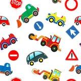 Άνευ ραφής σχέδιο αυτοκινήτων παιδιών απεικόνιση αποθεμάτων