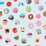 Άνευ ραφής σχέδιο αυτοκόλλητων ετικεττών κύκλων της Ιαπωνίας επίσκεψης Στοκ Φωτογραφίες