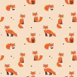 Άνευ ραφής σχέδιο αλεπούδων απεικόνιση αποθεμάτων