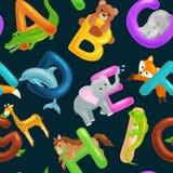 Άνευ ραφής σχέδιο αλφάβητου ζώων για την εκπαίδευση παιδιών abc στον παιδικό σταθμό Στοκ Εικόνα