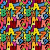 Άνευ ραφής σχέδιο αλφάβητου φιαγμένο από ζωηρόχρωμο χαρακτήρα επικαλύψεων abc Στοκ Εικόνες