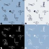Άνευ ραφής σχέδιο βιοτεχνίας με τα στοιχεία και τα χέρια εργαλείων Στοκ Εικόνα