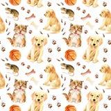 Άνευ ραφής σχέδιο γατακιών, κουταβιών και ποντικιών Στοκ φωτογραφίες με δικαίωμα ελεύθερης χρήσης