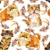 Άνευ ραφής σχέδιο γατακιών Στοκ Εικόνα
