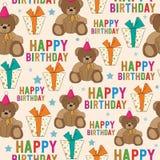 Άνευ ραφής σχέδιο γενεθλίων με τη teddy αρκούδα και τα δώρα Στοκ Φωτογραφία