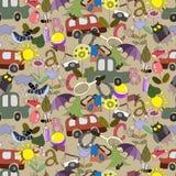 Άνευ ραφής σχέδιο για τα παιδιά στο ταξίδι Στοκ Εικόνα