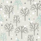 Άνευ ραφής σχέδιο για το χειμερινά δάσος και τα Χριστούγεννα Στοκ Εικόνα