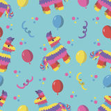 Άνευ ραφής σχέδιο γιορτής γενεθλίων με το ζωηρόχρωμο pinata, κομφετί 'Ð ² μπαλονιών aÑ Στοκ φωτογραφία με δικαίωμα ελεύθερης χρήσης