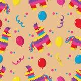 Άνευ ραφής σχέδιο γιορτής γενεθλίων με το ζωηρόχρωμο pinata, μπαλόνια α Στοκ φωτογραφία με δικαίωμα ελεύθερης χρήσης