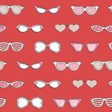 Άνευ ραφής σχέδιο, γυαλιά ηλίου μόδας γυναικών καθορισμένα Στοκ φωτογραφία με δικαίωμα ελεύθερης χρήσης