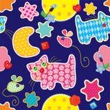 Άνευ ραφής σχέδιο - γλυκά όνειρα - γάτα, ποντίκι Στοκ εικόνες με δικαίωμα ελεύθερης χρήσης