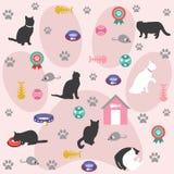 Άνευ ραφής σχέδιο, εικονίδια γατών Στοκ Φωτογραφίες