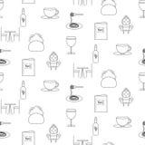 Άνευ ραφής σχέδιο εικονιδίων γραμμών εστιατορίων Στοκ Φωτογραφίες