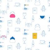Άνευ ραφής σχέδιο εικονιδίων γραμμών υπηρεσιών καφέδων Στοκ Φωτογραφία