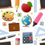Άνευ ραφής σχέδιο εικονιδίων εκπαίδευσης Στοκ Εικόνα