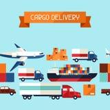 Άνευ ραφής σχέδιο εικονιδίων μεταφορών φορτίου φορτίου μέσα Στοκ φωτογραφία με δικαίωμα ελεύθερης χρήσης